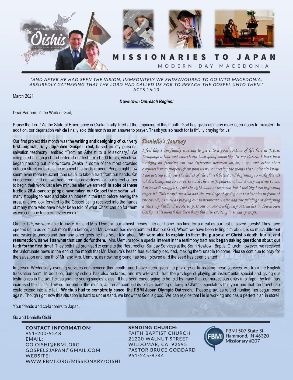 thumbnail of Go Oishi March 2021 Prayer Letter – Revised