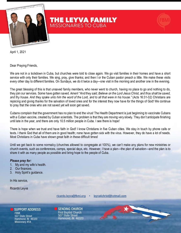 thumbnail of Ricardo Leyva April 2021 Prayer Letter