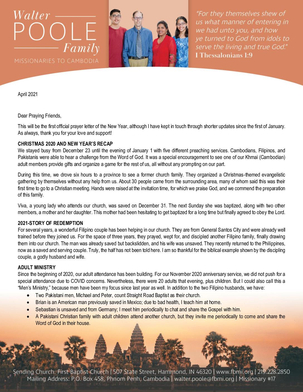thumbnail of Walter Poole April 2021 Prayer Letter