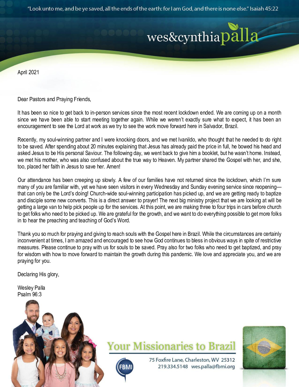thumbnail of Wes Palla April 2021 Prayer Letter