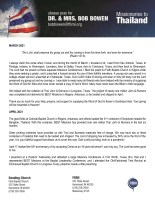 Bob Bowen Prayer Letter: The Lord Shall Preserve My Going Out and My Coming In