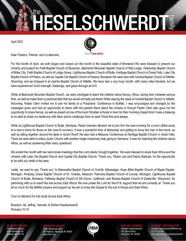 thumbnail of Brandon Heselschwerdt April 2021 Prayer Letter