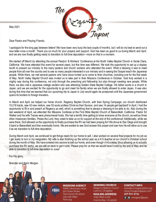 thumbnail of Brendan Morgan May 2021 Prayer Letter