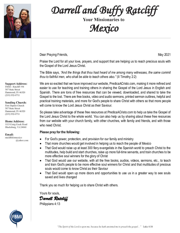 thumbnail of Darrell Ratcliff May 2021 Prayer Letter