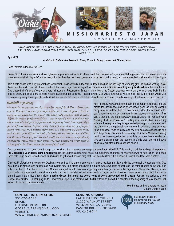 thumbnail of Go Oishi April 2021 Prayer Letter