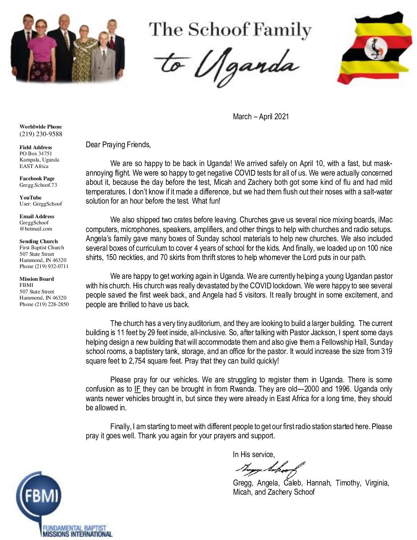 thumbnail of Gregg Schoof Mar-Apr 2021 Prayer Letter