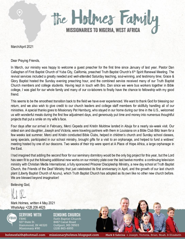 thumbnail of Mark Holmes Mar-Apr 2021 Prayer Letter