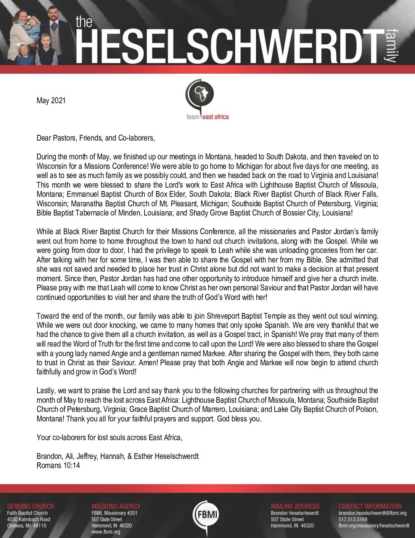 thumbnail of Brandon Heselschwerdt May 2021 Prayer Letter