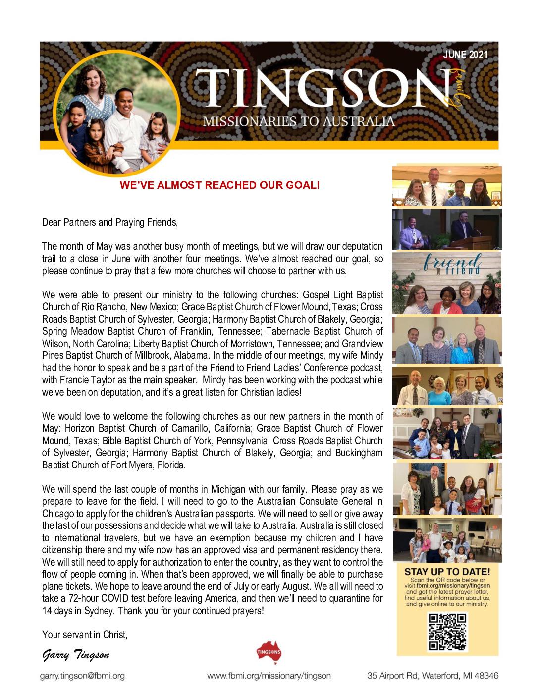 thumbnail of Garry Tingson June 2021 Prayer Letter – Revised