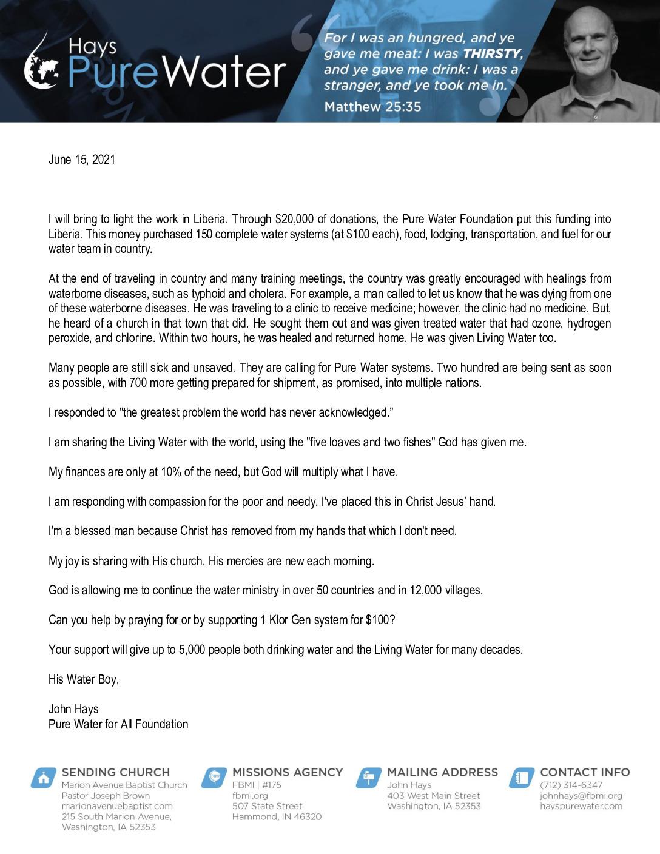 thumbnail of John Hays June 2021 Prayer Letter – 2