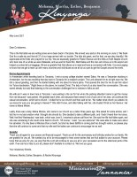 Mshama and Martha Kinyonga Prayer Letter: Back on the Field