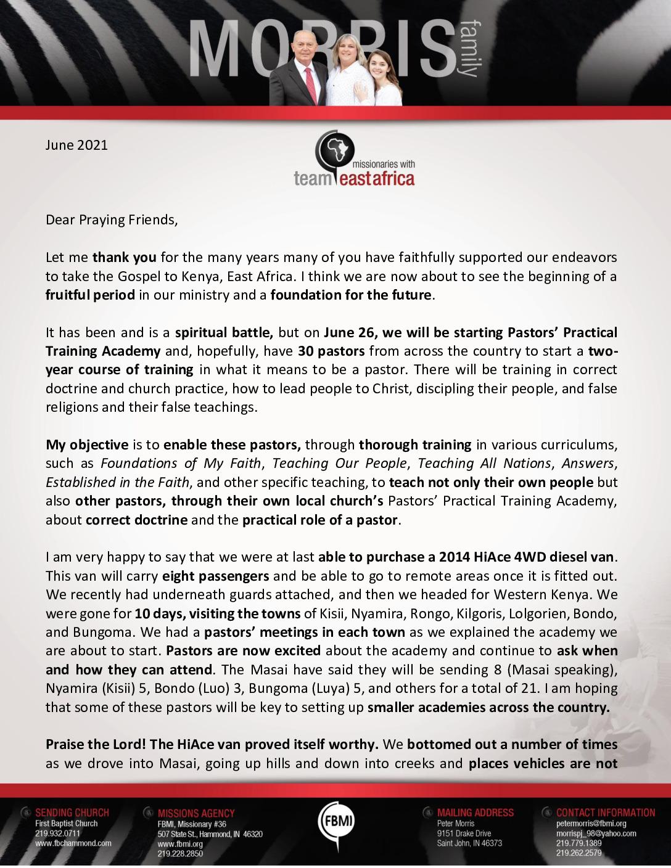 thumbnail of Peter Morris June 2021 Prayer Letter – 2
