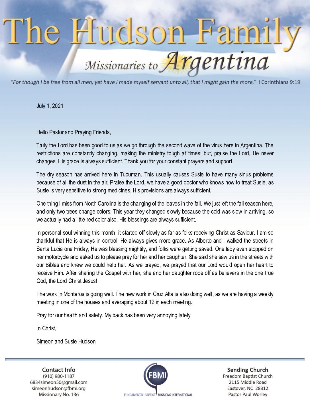 thumbnail of Simeon Hudson July 2021 Prayer Letter