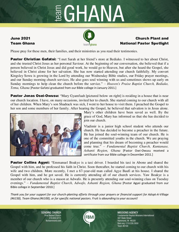 thumbnail of Team Ghana June 2021 National Pastor Update