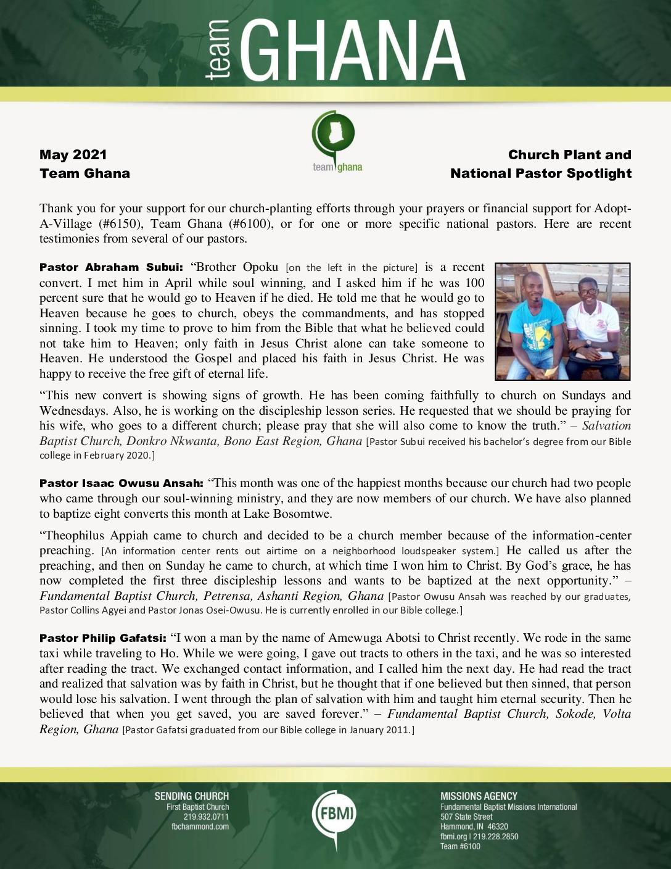 thumbnail of Team Ghana May 2021 National Pastor Update – Revised