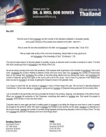 Bob Bowen Prayer Letter: We Must Increase!