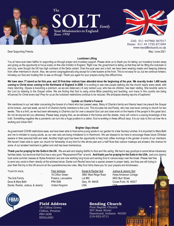 thumbnail of Dave Solt May-Jun 2021 Prayer Letter – Revised