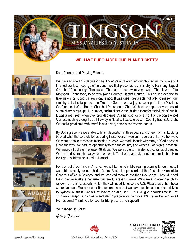 thumbnail of Garry Tingson July 2021 Prayer Letter – Revised