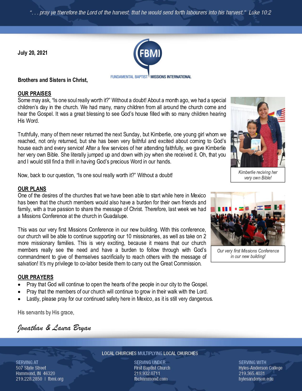 thumbnail of Jonathan Bryan July 2021 Prayer Letter