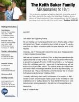 Keith and Theresa Baker Prayer Letter: Urgent Prayer Needed for Haiti