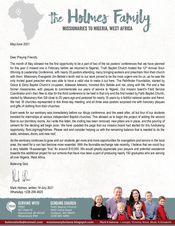 thumbnail of Mark Holmes May-Jun 2021 Prayer Letter