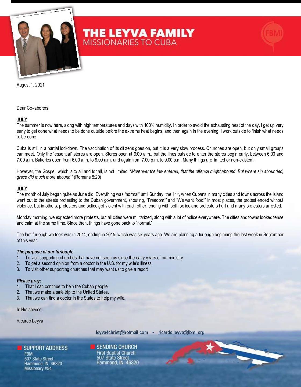 thumbnail of Ricardo Leyva August 2021 Prayer Letter