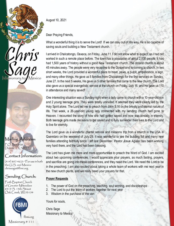 thumbnail of Christopher Sage August 2021 Prayer Letter – Revised