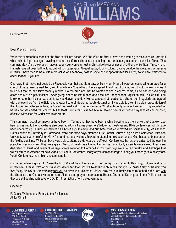 thumbnail of Daniel Williams Summer 2021 Prayer Letter – Revised