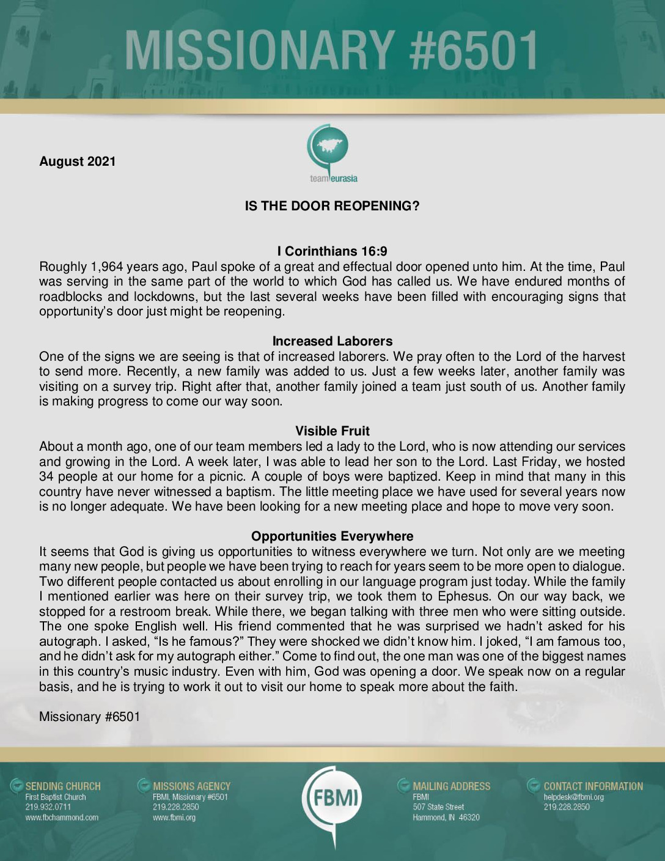 thumbnail of M6501 August 2021 Newsletter