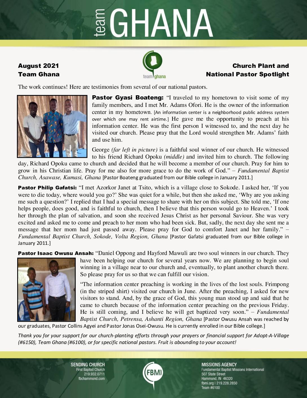 thumbnail of Team Ghana August 2021 National Pastor Update
