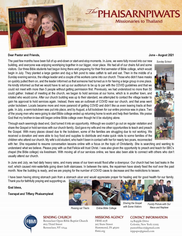 thumbnail of Teerapat Phaisarnpiwat Jun-Aug 2021 Prayer Letter