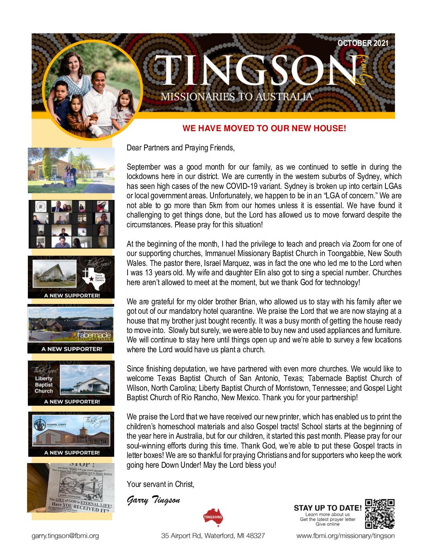 thumbnail of Garry Tingson October 2021 Prayer Letter