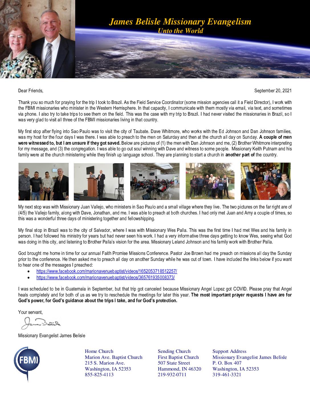 thumbnail of James Belisle September 2021 Prayer Letter – Revised