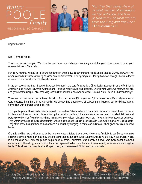 thumbnail of Walter Poole September 2021 Prayer Letter