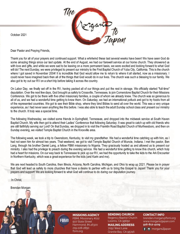 thumbnail of Brendan Morgan October 2021 Prayer Letter