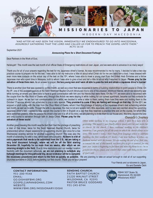 thumbnail of Go Oishi September 2021 Prayer Letter – Revised