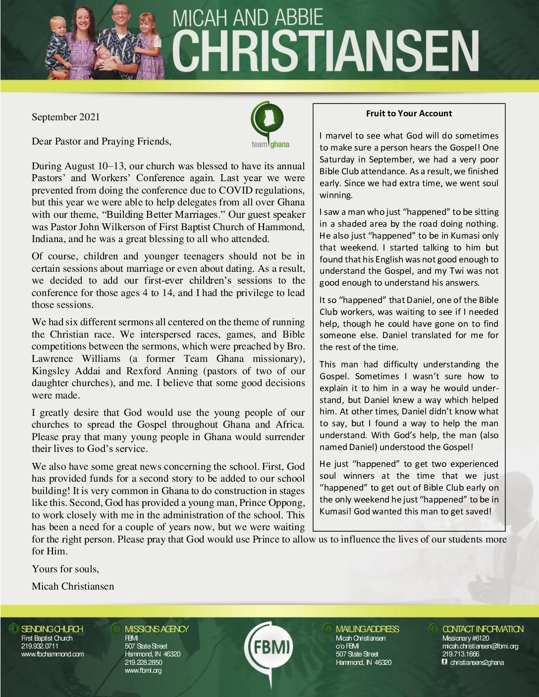 thumbnail of Micah Christiansen September 2021 Prayer Letter – Revised