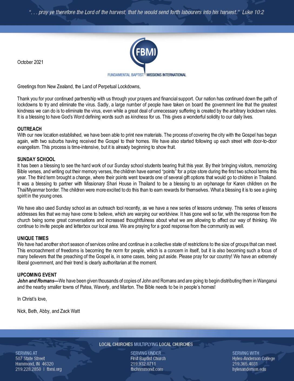thumbnail of Nick Watt October 2021 Prayer Letter
