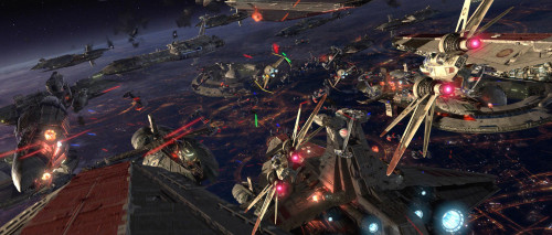 Episode III basically functions as a retort to Episode I. Cause this Space Battle was pretty awesome