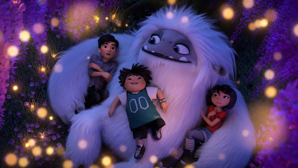 "(from left) - Jin (Tenzing Norgay Trainor), Peng (Albert Tsai) and Yi (Chloe Bennet) with Everest in DreamWorks Animation and Pearl Studio's ""Abominable,"" written and directed by Jill Culton."
