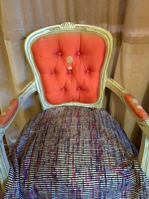 French silk-upholstered chair with new Linton tweed seat covering