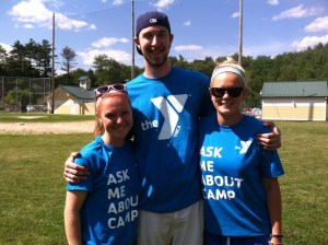 (L-R) Kristina Ketchum, Jonathan Bricker and Shelly Jacobson join the Hockomock Y in celebrating ten years of summer fun and a lifetime of memories through Camp WAPAWCA in Foxboro.