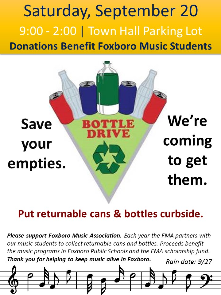 Bottle Can Drive Foxboro Music Association Cable Access