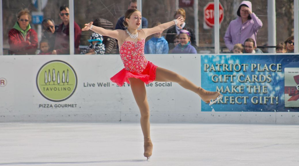 Jamieson Cyr performs at Sunday's Finale on Ice figure skating show at Patriot Place's Winter Skate. Proceeds from the event, which marked the end of the 2015-2016 ice skating season at the outdoor rink, benefit the Hockomock Area YMCA and Cradles to Crayons.