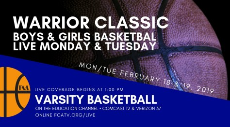 Join us for LIVE coverage of ALL the Warrior Classic Games today and tomorrow, beginning at 1:00 PM on the Ed Channel (Comcast 12/Verizon 37) and http://fcatv.org/live #GoWarriors @RandolphCommTV @randolphbdevils @ORRABC @BLS_Athletics @hcattv @HollistonAD @scituategbball