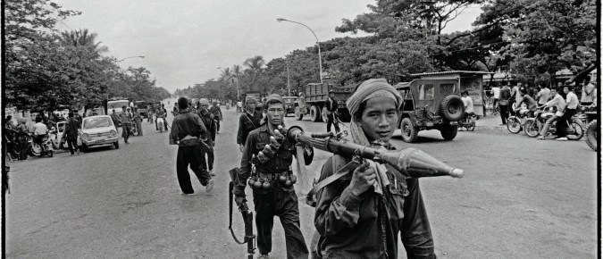 Phnom Penh falls with barely a fight. The victorious guerrilla forces enter the city from all sides