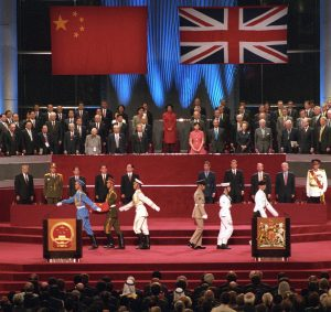 The official handover ceremony was a lavish display of Chinese pomp and pageantry.