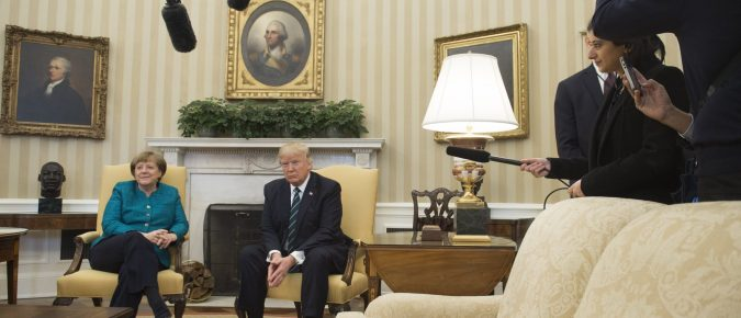 "The ""missing"" bust of Dr. Martin Luther King clearly seen on display during the recent meeting of German Chancellor, Angela Merkel and U.S. President Donald Trump in the Oval Office."