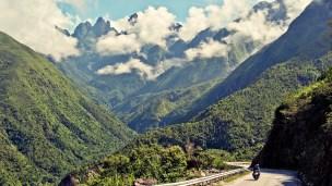 Sapa road towards Dien Bien Phu against the Mount Fansipan ranges