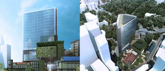 Artist's impression of proposed 25-storey hospital at the SKH site.
